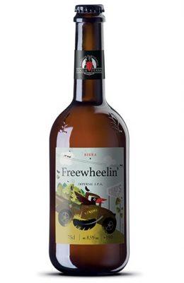 Una bottiglia di BIRRA FREEWHEELIN' IMPERIAL IPA 33cl FOGLIE D'ERBA